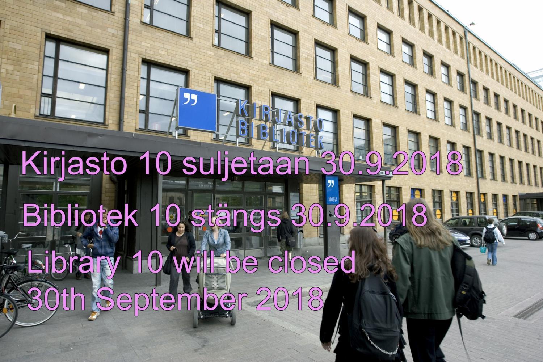 Kirjasto 10 suljetaan